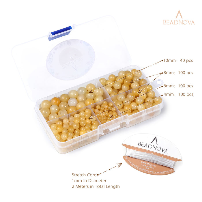 BEADNOVA 4-10mm Natural Yellow Jade Round Beads for Jewelry Making (340pcs)