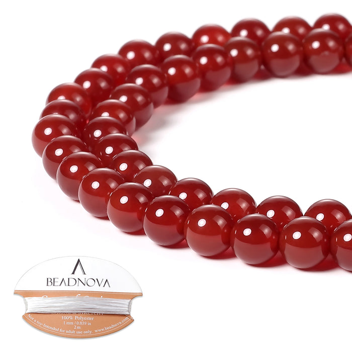 BEADNOVA 6mm Natural Red Agate Gemstone Round Loose Beads for Jewelry Making (63-65pcs)