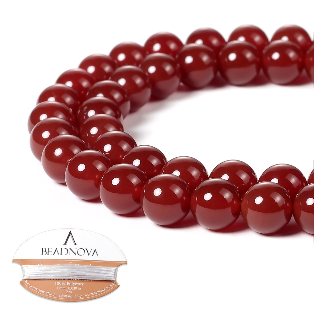 BEADNOVA 8mm Natural Red Agate Gemstone Round Loose Beads for Jewelry Making (45-48pcs)
