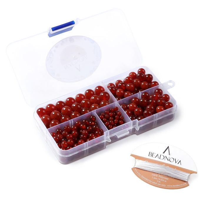BEADNOVA 4-10mm Natural Red Agate Round Beads for Jewelry Making (340pcs)