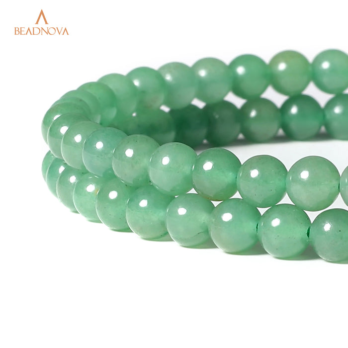 BEADNOVA 4mm Green Aventurine Gemstone Round Loose Beads for Jewelry Making (94-96pcs)