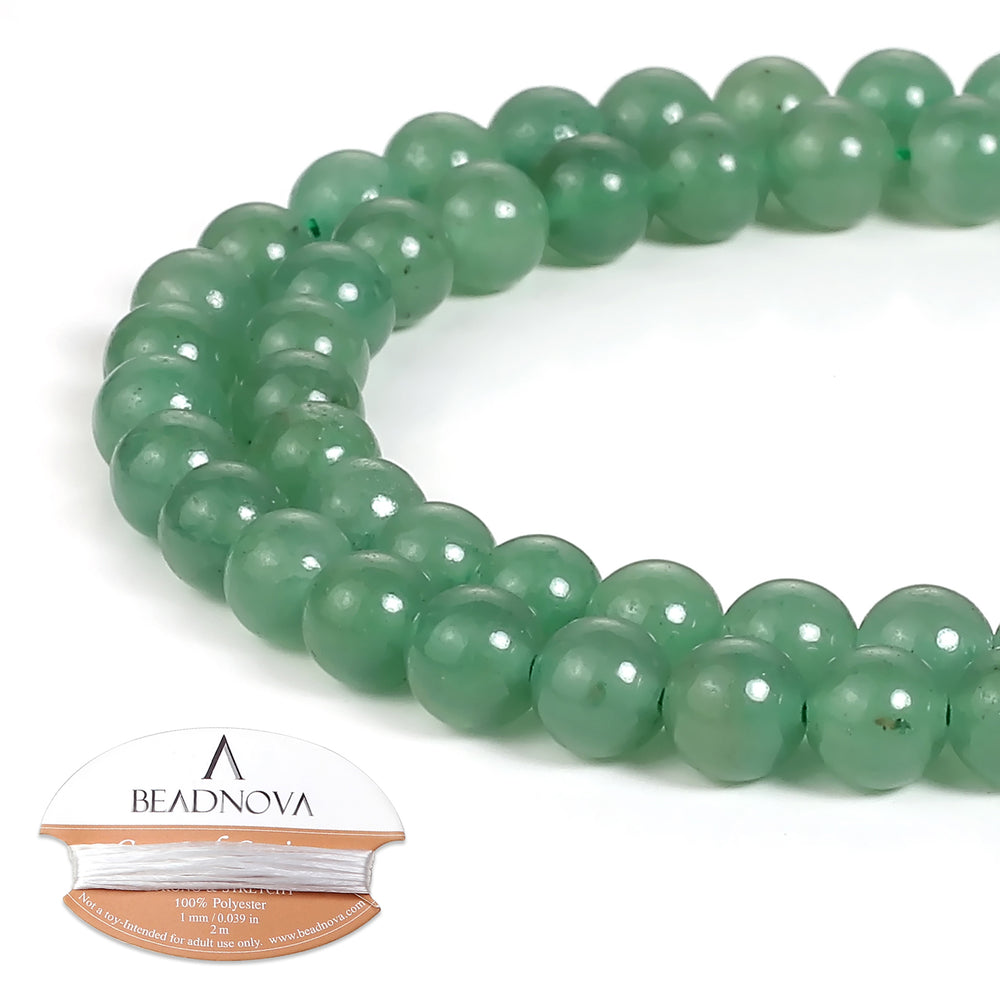 BEADNOVA 6mm Green Aventurine Gemstone Round Loose Beads for Jewelry Making (63-65pcs)