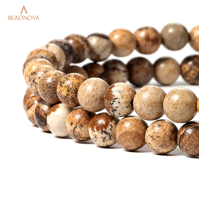 BEADNOVA 6mm Brown Picture Jasper Gemstone Round Loose Beads for Jewelry Making (63-65pcs)