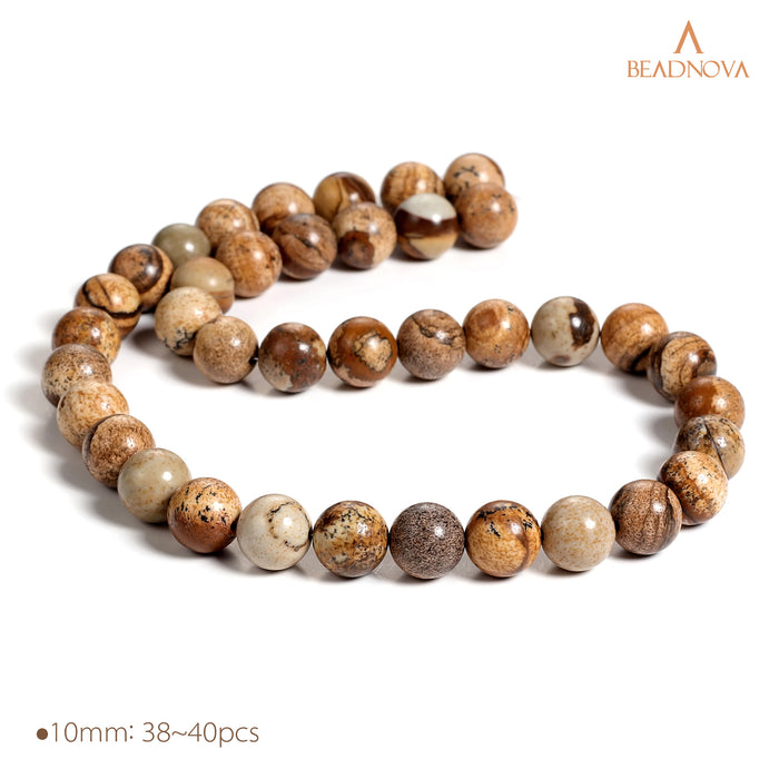 BEADNOVA 10mm Brown Picture Jasper Gemstone Round Loose Beads for Jewelry Making (38-40pcs)