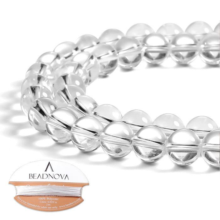 BEADNOVA 8mm Clear White Crystal Rock Quartz Gemstone Round Loose Beads for Jewelry Making (45-48pcs)