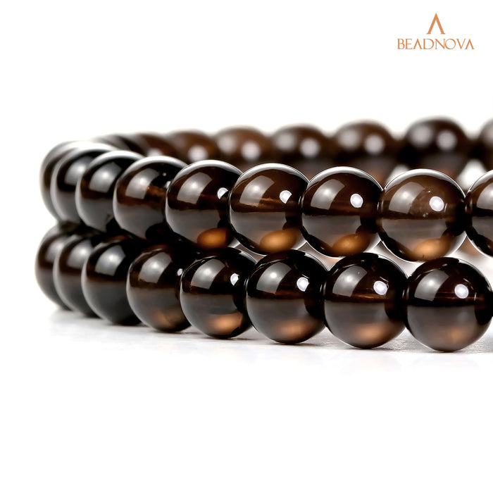 BEADNOVA 4mm Smoky Quartz Gemstone Round Loose Beads for Jewelry Making (94-96pcs)