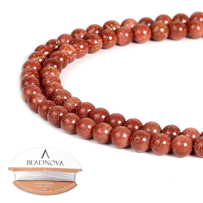 BEADNOVA 4mm Natural Gold Sandstone Gemstone Round Loose Beads for Jewelry Making (94-96pcs)