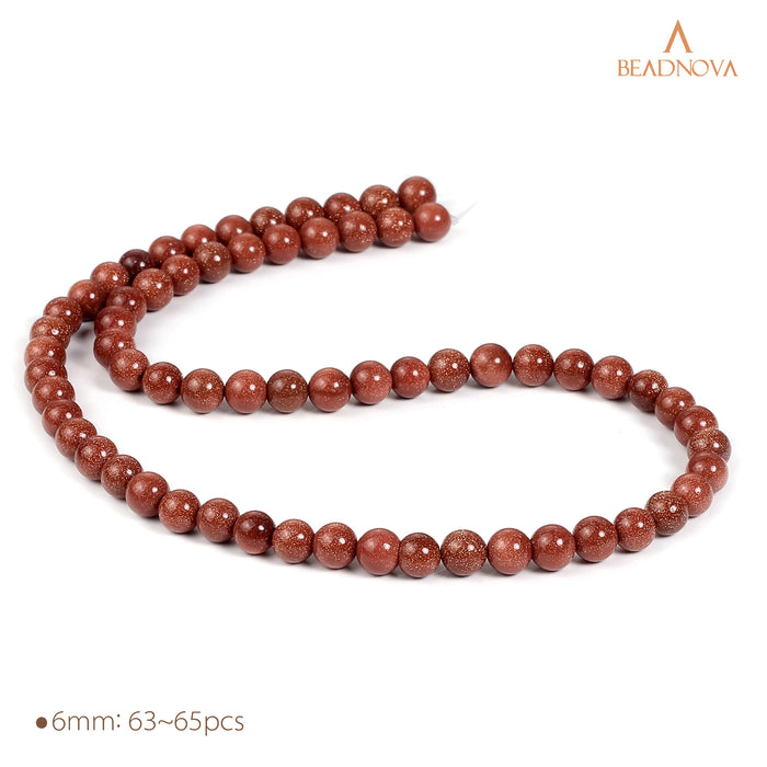 BEADNOVA 6mm Natural Gold Sandstone Gemstone Round Loose Beads for Jewelry Making (63-65pcs)