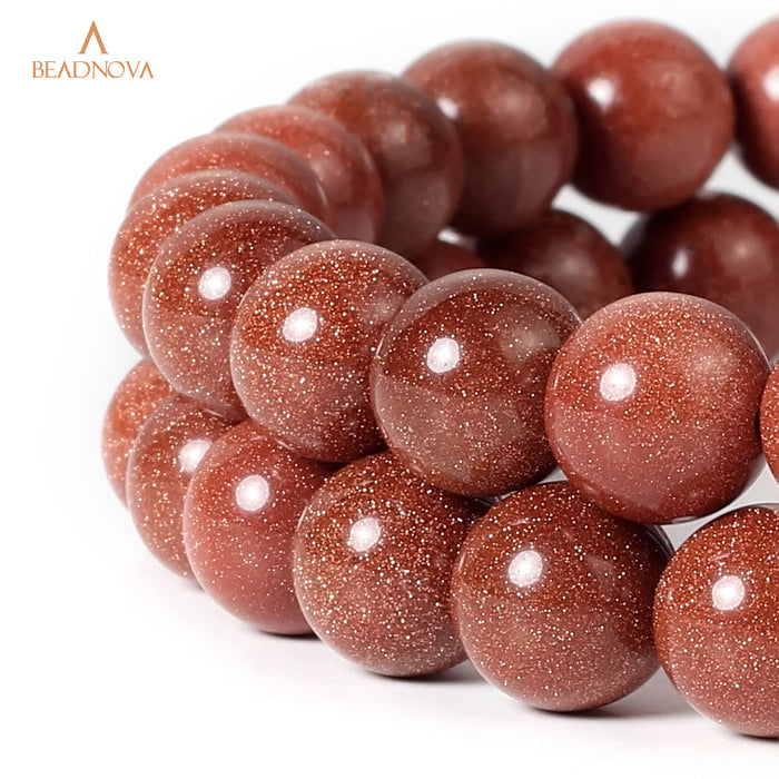 BEADNOVA 10mm Natural Gold Sandstone Gemstone Round Loose Beads for Jewelry Making (38-40pcs)