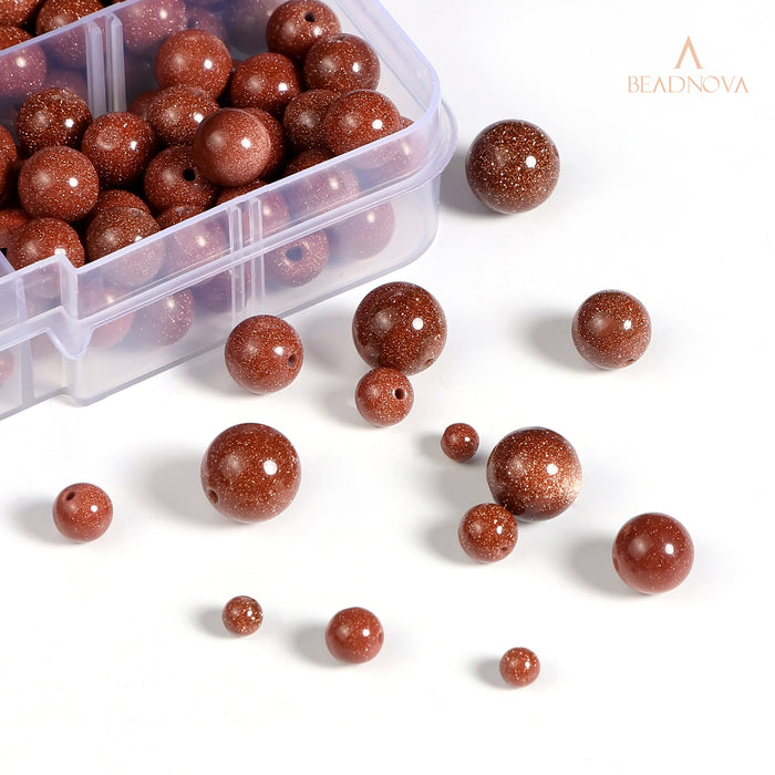 BEADNOVA 4-10mm Natural Gold Sandstone Gemstone for Jewelry Making (340pcs)