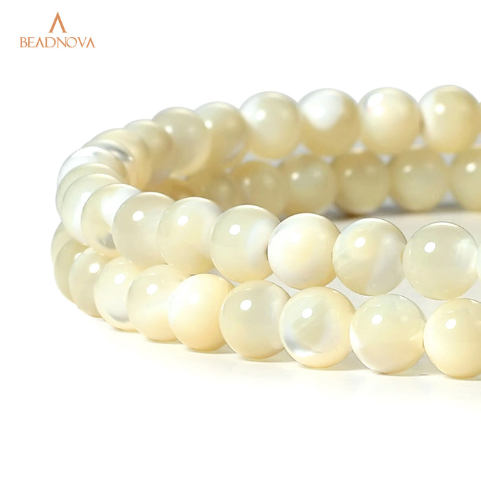 BEADNOVA 4mm Natural White Mother of Pearl Shell Beads Gemstone Round Loose Beads for Jewelry Making (94-96pcs)