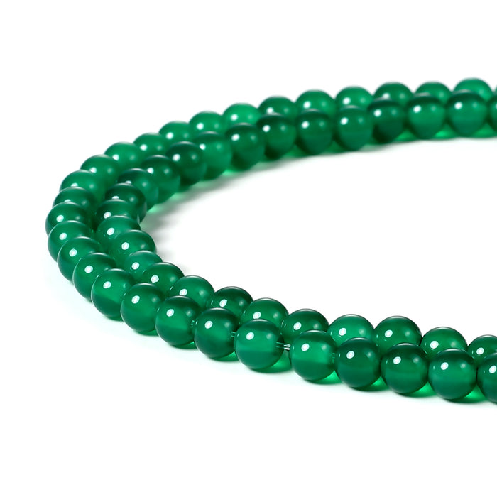 BEADNOVA 4mm Natural Green Agate Gemstone Round Loose Beads for Jewelry Making (94-96pcs)