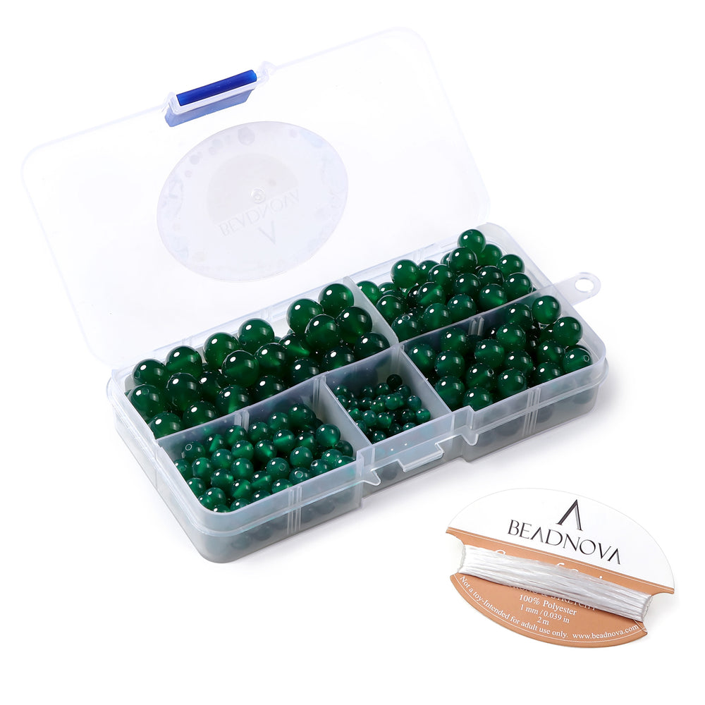 BEADNOVA 4-10mm Natural Green Agate Gemstone for Jewelry Making (340pcs)