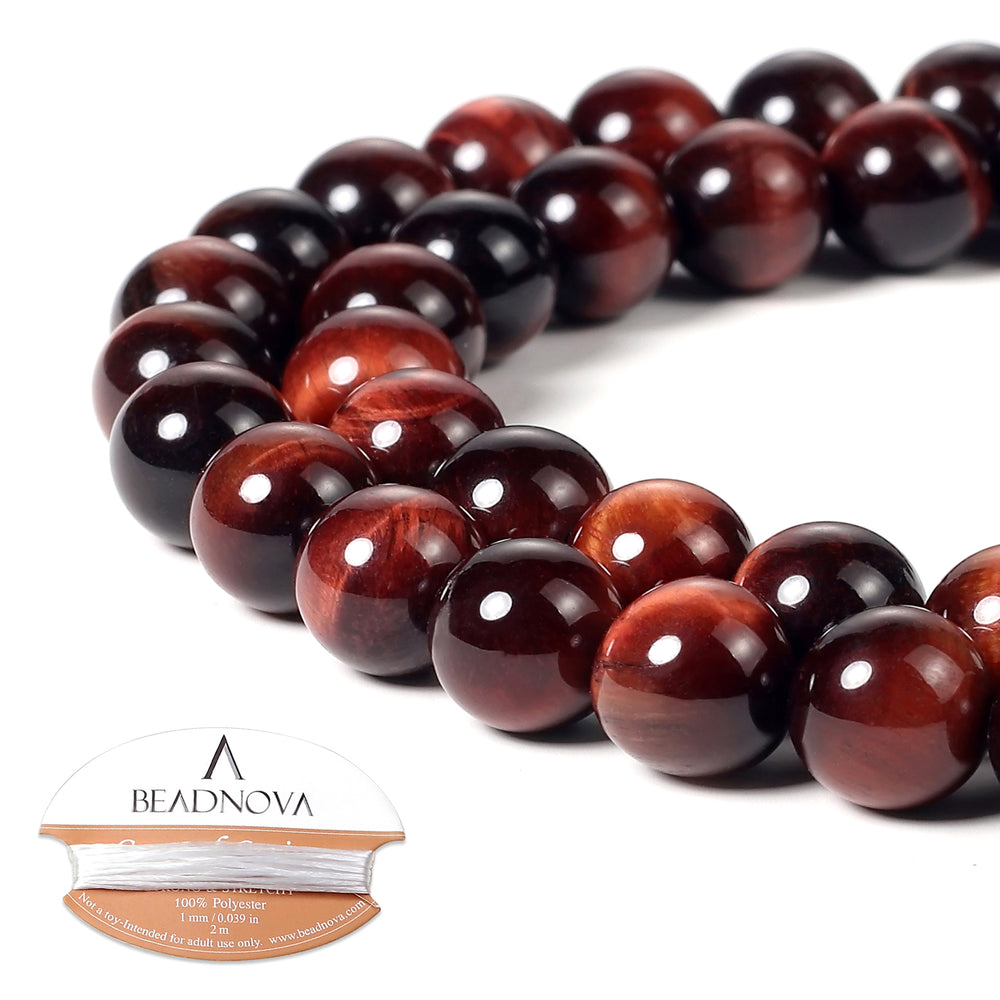 BEADNOVA 10mm Red Tiger Eye Gemstone Round Loose Beads for Jewelry Making (38-40pcs)