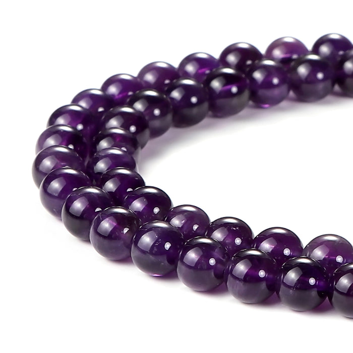 BEADNOVA 6mm Natural Amethyst Purple Quartz Gemstone Round Loose Beads for Jewelry Making (63-65pcs)