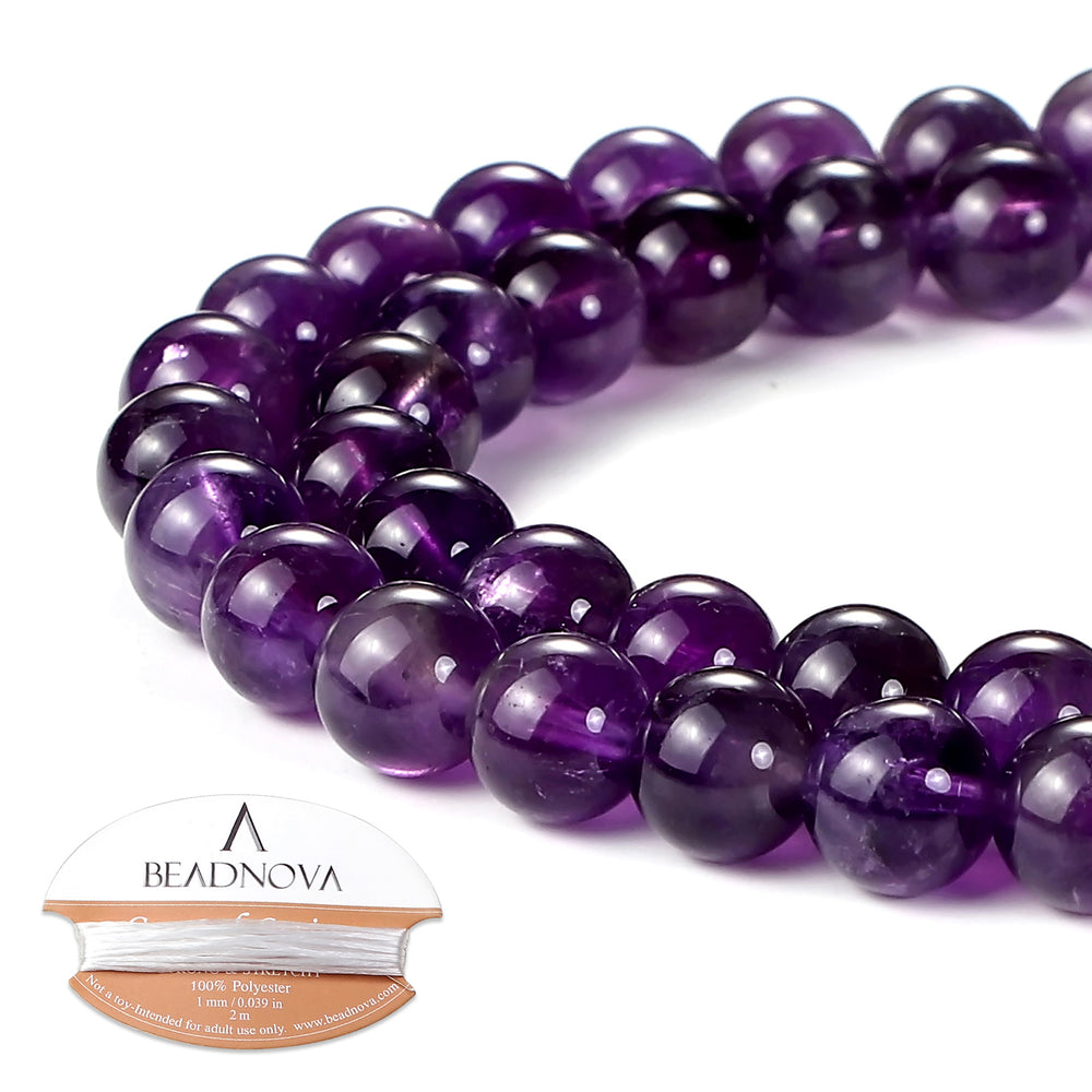 BEADNOVA 8mm Natural Amethyst Purple Quartz Gemstone Round Loose Beads for Jewelry Making (45-48pcs)