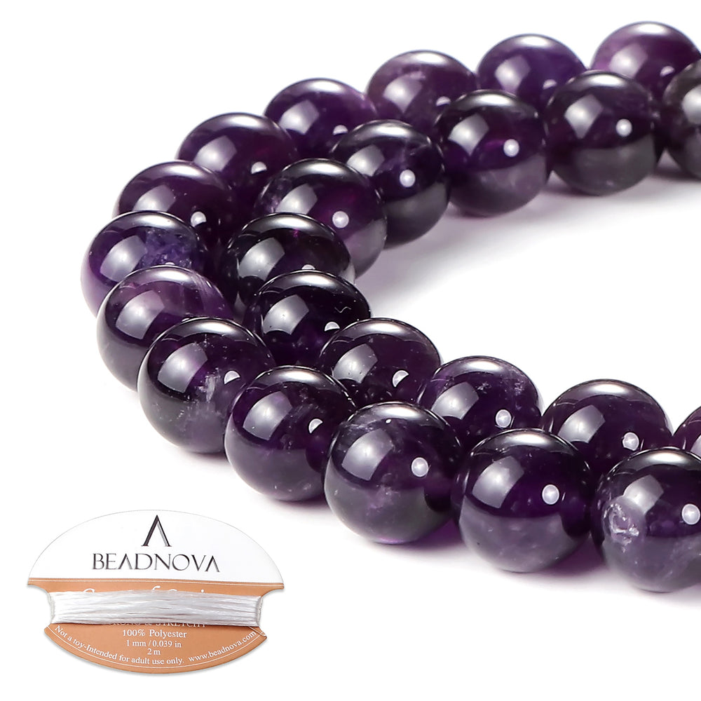 BEADNOVA 10mm Natural Amethyst Purple Quartz Gemstone Round Loose Beads for Jewelry Making (38-40pcs)