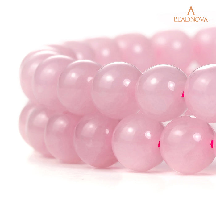 BEADNOVA 8mm Natural Rose Quartz Gemstone Round Loose Beads for Jewelry Making (45-48pcs)