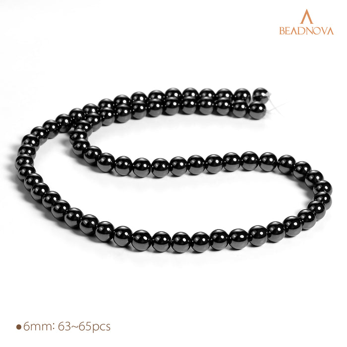 BEADNOVA 6mm Natural Hematite Gemstone Round Loose Beads for Jewelry Making (63-65pcs)