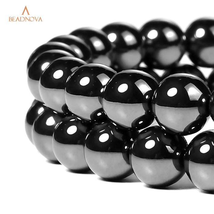 BEADNOVA 10mm Natural Hematite Gemstone Round Loose Beads for Jewelry Making (38-40pcs)