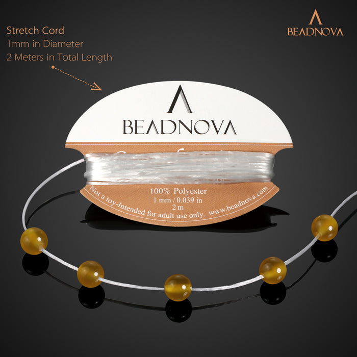 BEADNOVA 6mm Natural Yellow Agate Gemstone Round Loose Beads for Jewelry Making (63-65pcs)