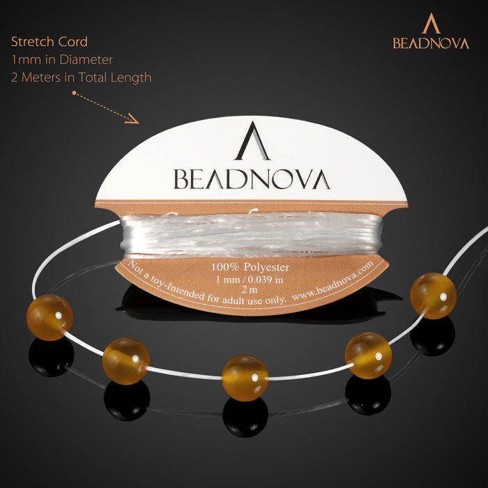BEADNOVA 8mm Natural Yellow Agate Gemstone Round Loose Beads for Jewelry Making (45-48pcs)