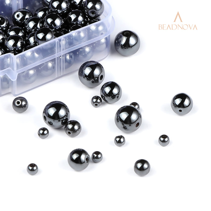 BEADNOVA 4-10mm Natural Hematite Gemstone for Jewelry Making (340pcs)