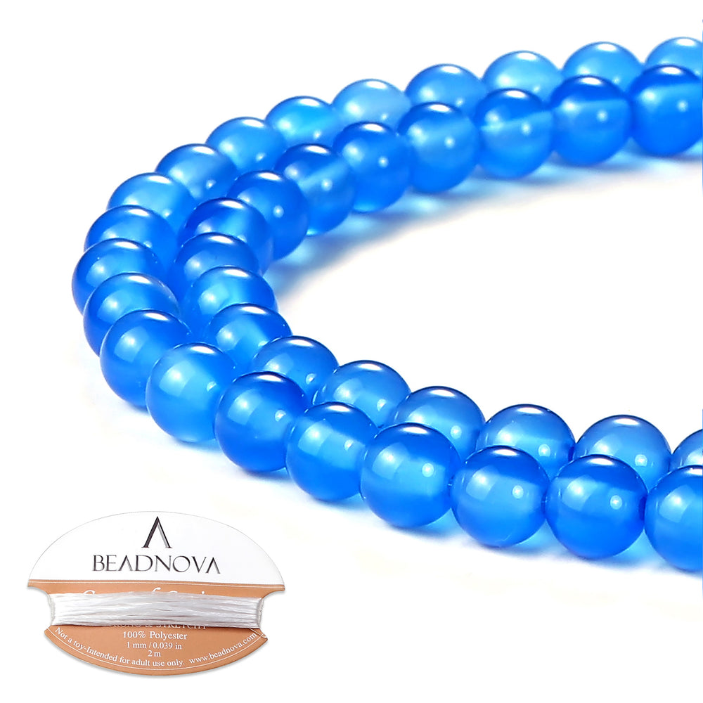 BEADNOVA 6mm Blue Agate Gemstone Round Loose Beads for Jewelry Making (63-65pcs)