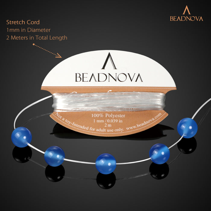 BEADNOVA 8mm Blue Agate Gemstone Round Loose Beads for Jewelry Making (45-48pcs)