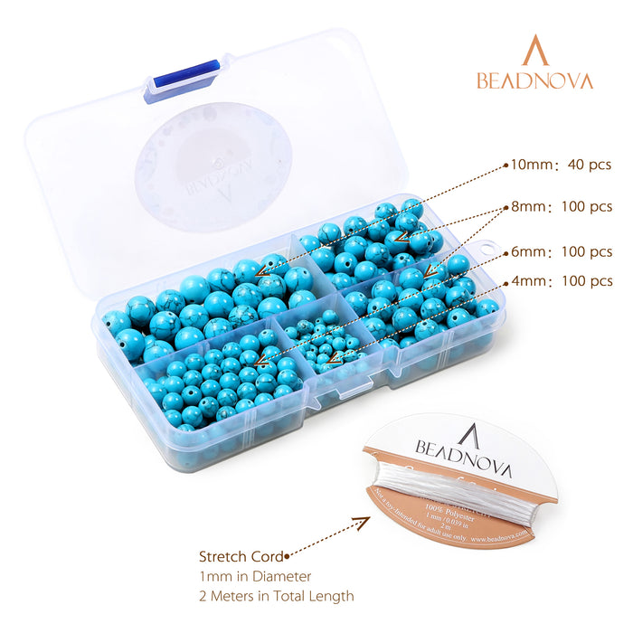 BEADNOVA 4-10mm Synthetic Blue Turquoise Gemstone for Jewelry Making (340pcs)