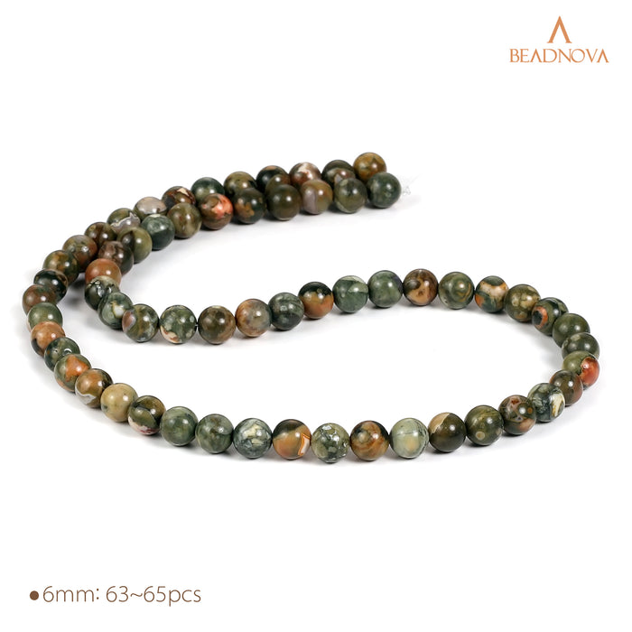 BEADNOVA 6mm Natural Kambaba Jasper Gemstone Round Loose Beads for Jewelry Making (63-65pcs)