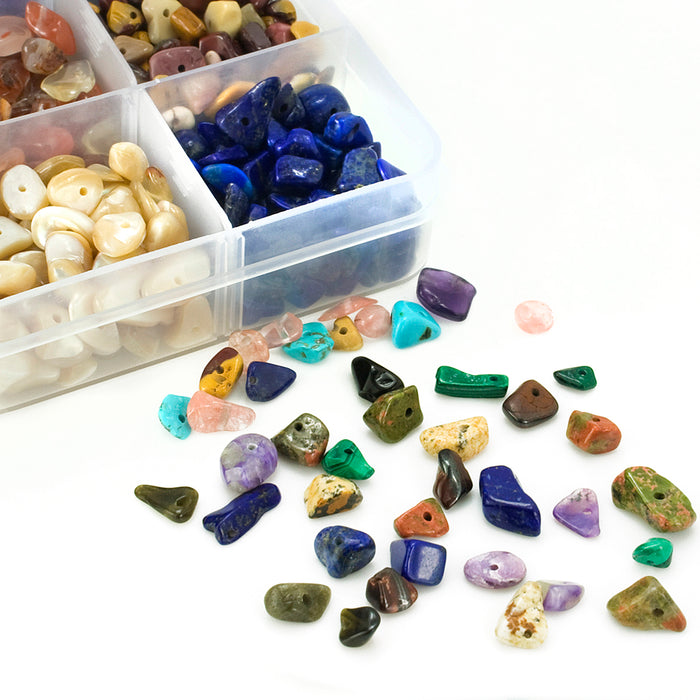 BEADNOVA 5mm-7mm Chips Gemstone Crystal Pieces Irregular Shaped Loose Beads for Jewelry Making Box Set Value Pack