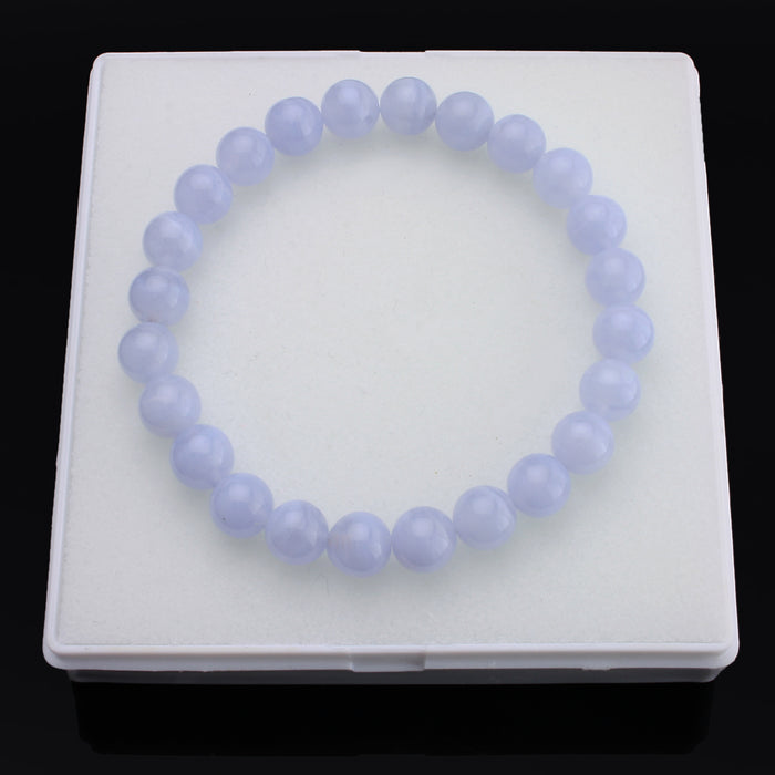 BEADNOVA AAA Grade 8mm Blue Lace Agate Gemstone Bracelet Semi Precious Gemstone Birthstone Round Beads Stretch Bracelet 7.8""