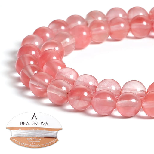 BEADNOVA 8mm Natural Watermelon Cherry Quartz Gemstone Round Loose Beads for Jewelry Making (45-48pcs)