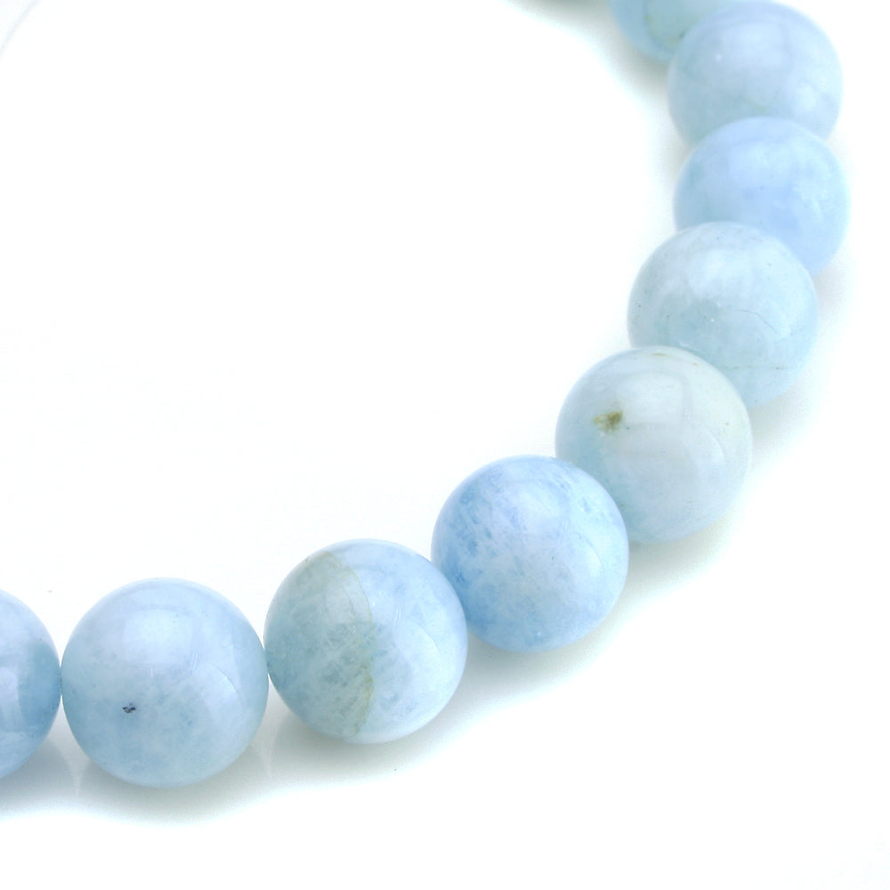 BEADNOVA AAA Grade 8mm Aquamarine Gemstone Bracelet Semi Precious Gemstone Birthstone Round Beads Stretch Bracelet 7.8""