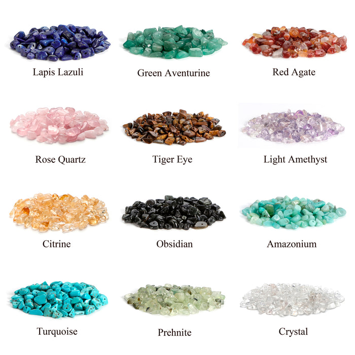 BEADNOVA 5mm-8mm Gemstone Crystal Chips Stone Irregular Shaped Crushed Beads For Jewelry Making (Box Set with 2 Meters Crystal Stretch Cord & Handy Tool), Set 1