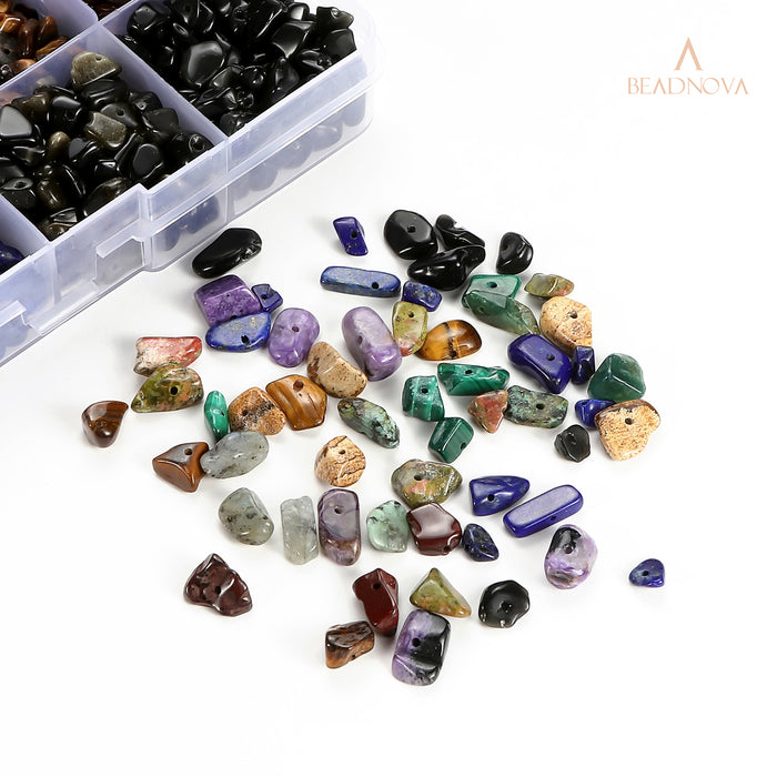 BEADNOVA 5mm-8mm Gemstone Crystal Chips Stone Irregular Shaped Crushed Beads For Jewelry Making (Box Set with 2 Meters Crystal Stretch Cord & Handy Tool), Set 3