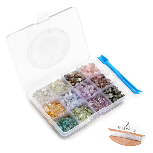 BEADNOVA 5mm-8mm Gemstone Crystal Chips Stone Irregular Shaped Crushed Beads For Jewelry Making (Box Set with 2 Meters Crystal Stretch Cord & Handy Tool), Set 4
