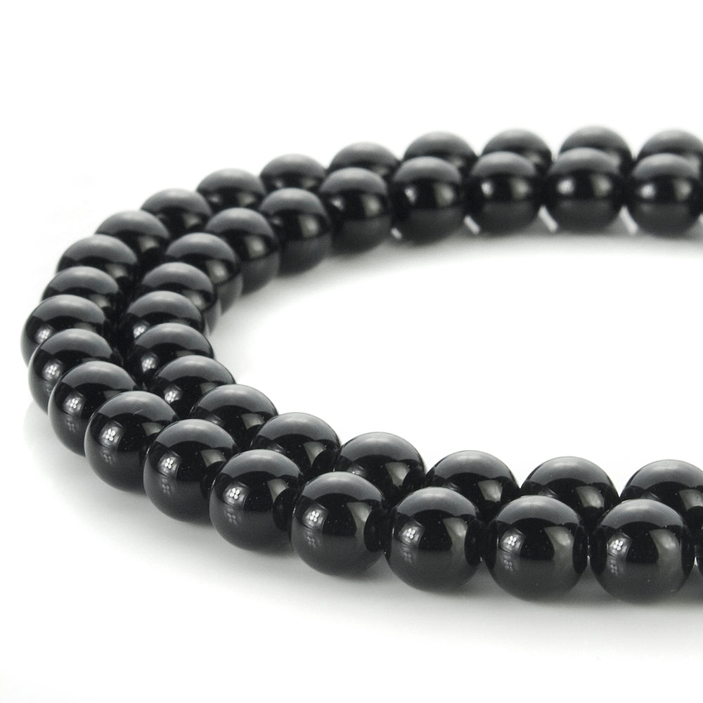 BEADNOVA 6mm Natural AAA Black Onyx Agate Gemstone Round Loose Beads For Jewelry Making (63-65pcs / Strand)
