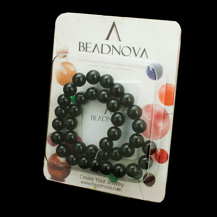 BEADNOVA 8mm Natural Black Onyx Agate Gemstone Round Loose Beads For Jewelry Making (48-50pcs / Strand)