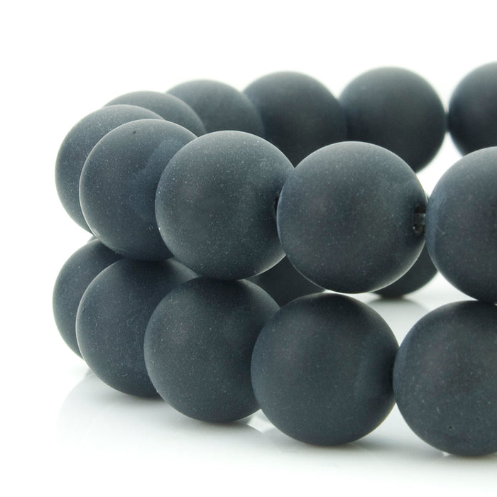 BEADNOVA 4mm Natural Black Color Matte Finish Onyx Gemstone Agate Round Loose Beads For Jewelry Making (95-100pcs / Strand)