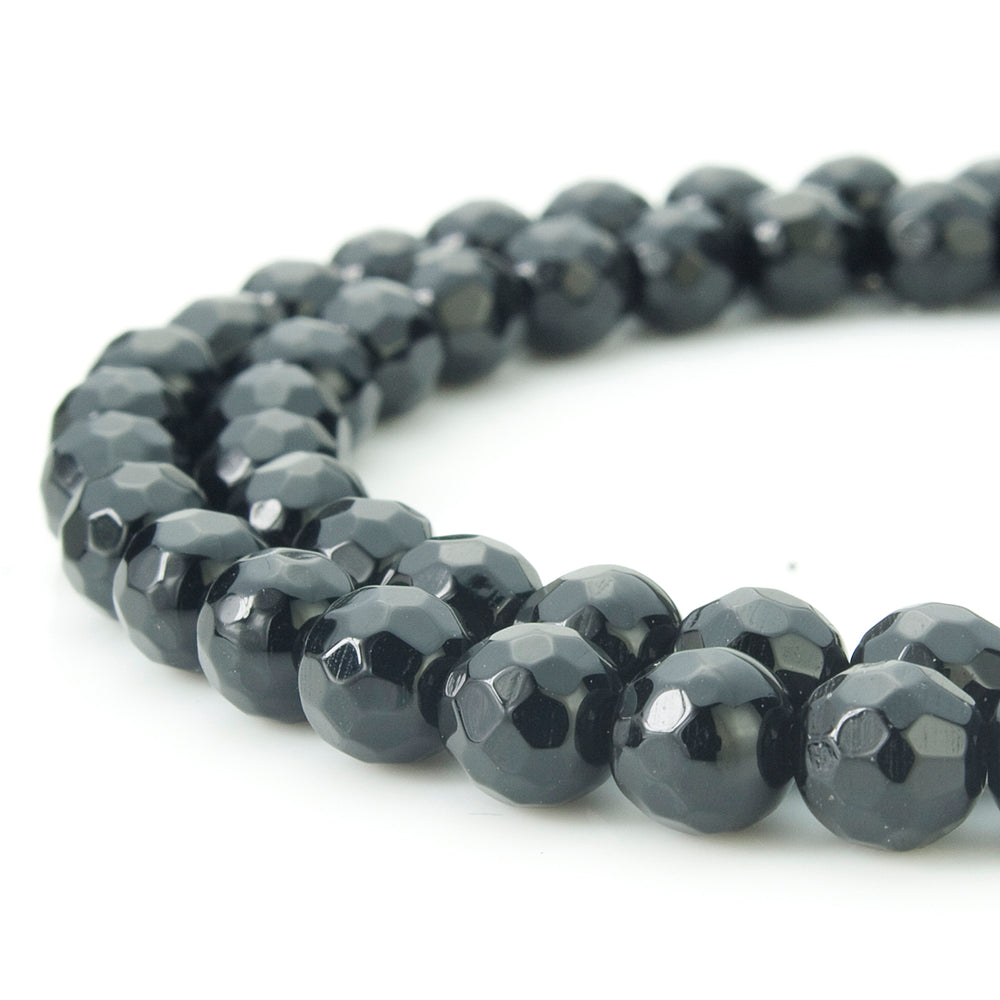 BEADNOVA 6mm Natural Black Onyx Gemstone Agate Faceted Round Loose Beads For Jewelry Making (63-65pcs / Strand)