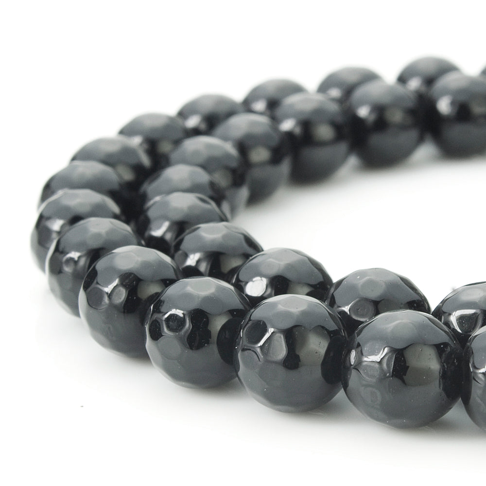 BEADNOVA 8mm Natural Black Onyx Gemstone Agate Faceted Round Loose Beads For Jewelry Making (48-50pcs / Strand)