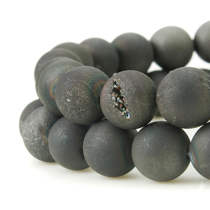 BEADNOVA 8mm Natural Black Druzy Agate Gemstone Gem Strand Round Loose Beads for Jewelry Making