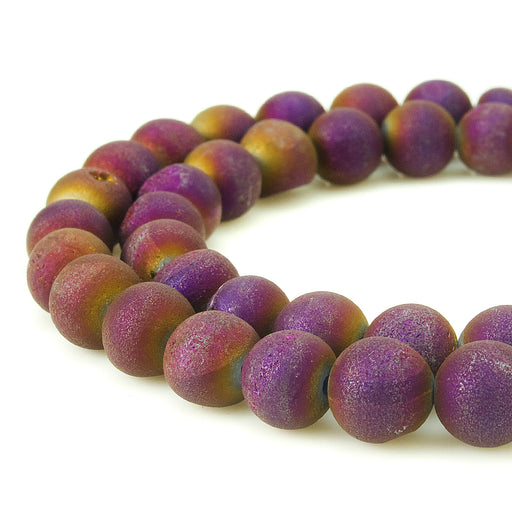 BEADNOVA 8mm Natural Purple Druzy Agate Gemstone Gem Strand Round Loose Beads for Jewelry Making