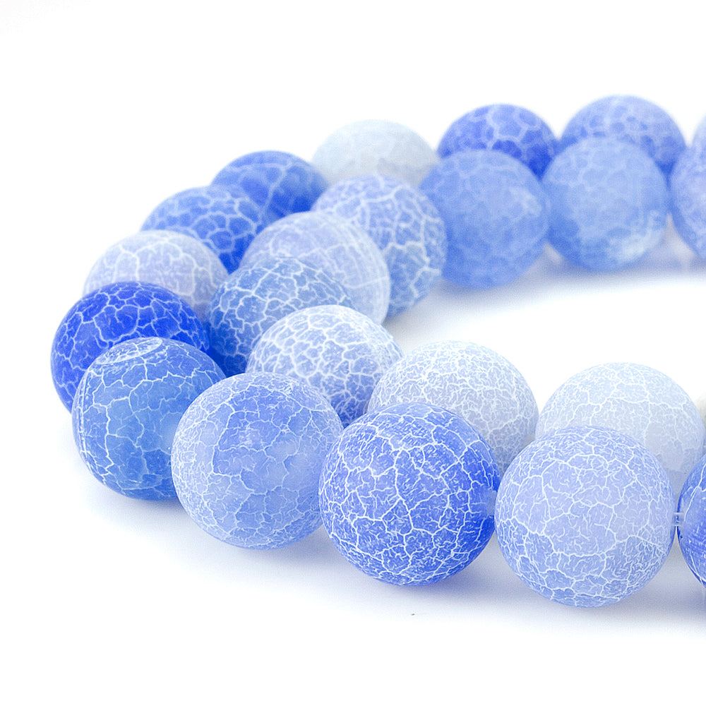 BEADNOVA 12mm Violet Blue Frosted Agate Unpolished Cracked Matte Gemstone Gem Strand Round Loose Beads for Jewelry Making