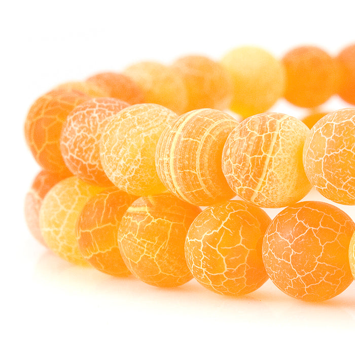 BEADNOVA 6mm Orange Frosted Agate Unpolished Cracked Matte Gemstone Gem Strand Round Loose Beads for Jewelry Making