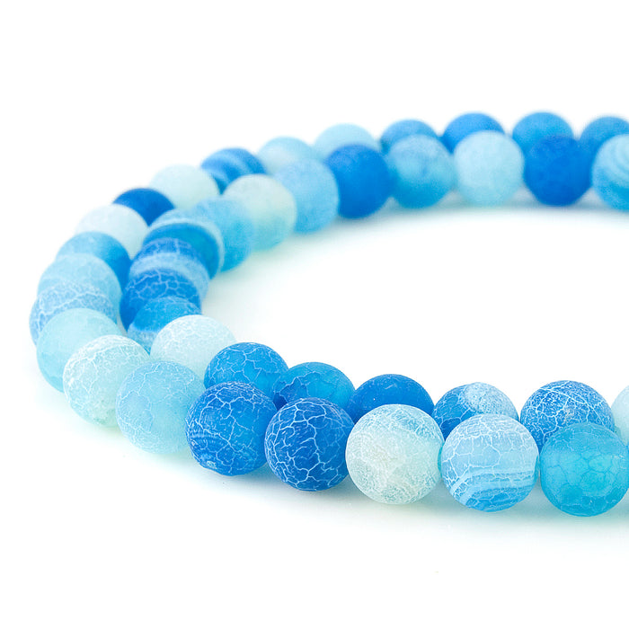 BEADNOVA 6mm Blue Frosted Agate Unpolished Cracked Matte Gemstone Gem Strand Round Loose Beads for Jewelry Making
