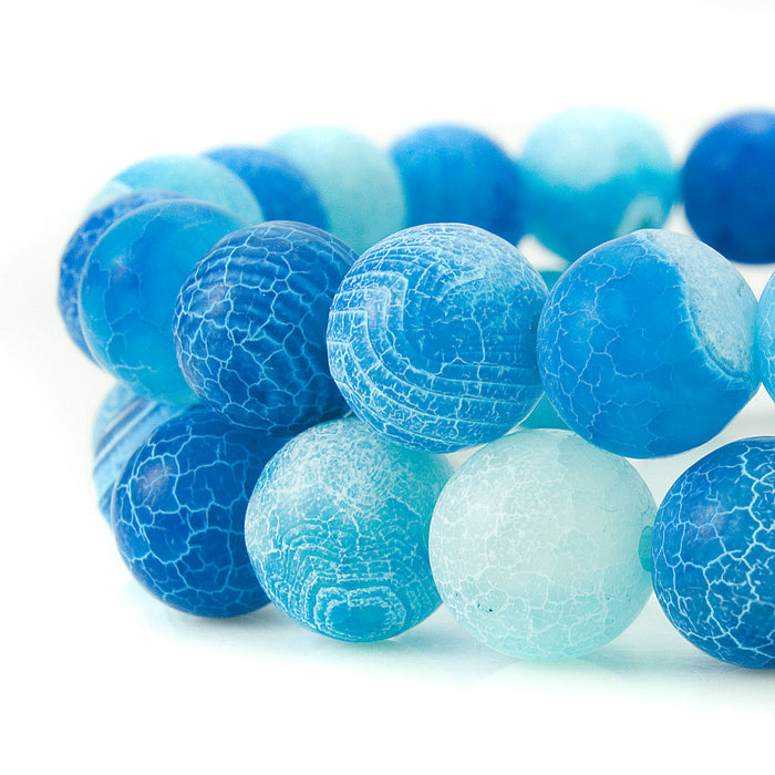 BEADNOVA 8mm Blue Frosted Agate Unpolished Cracked Matte Gemstone Gem Strand Round Loose Beads for Jewelry Making