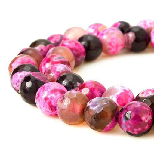 BEADNOVA 8mm Faceted Natural Fuchsia Fire Agate Gemstone Gem Loose Beads Approx 16 inch 48~50pcs/ Strand for Jewelry Making